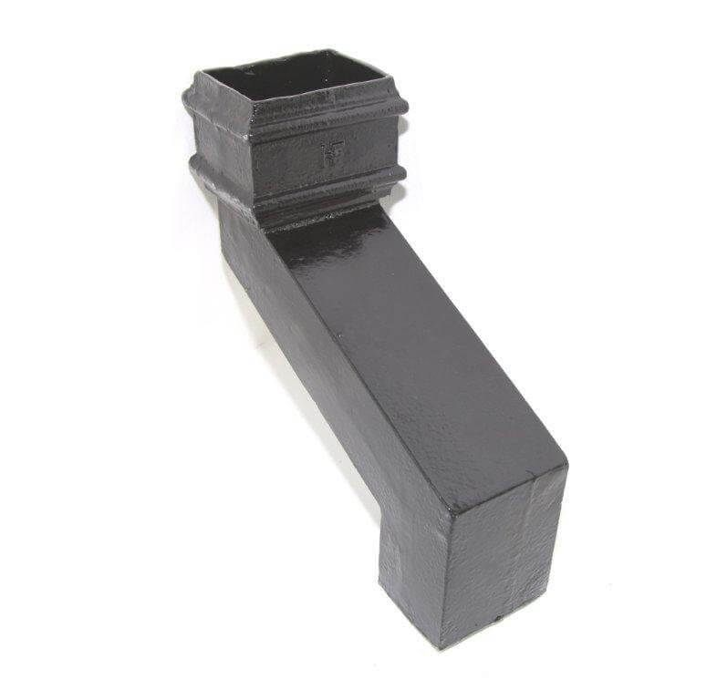 Cast Iron Rectangular Downpipe - 380mm Front Projection 100mm x 75mm Black