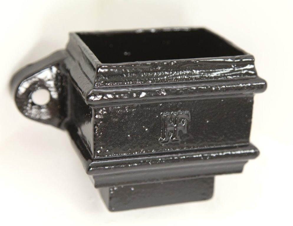 Cast Iron Rectangular Downpipe Eared/ Loose Socket with Spigot - 100mm x 75mm Black