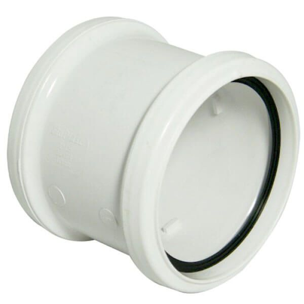 Industrial/ Xtraflo Downpipe Double Socket Coupling - 110mm White