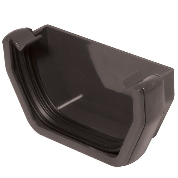 Square Gutter External Stopend - 114mm Anthracite Grey