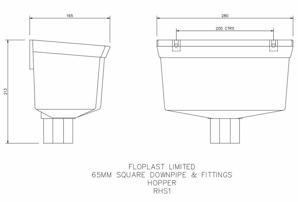 Downpipe Universal Round/ Square Hopper - Black