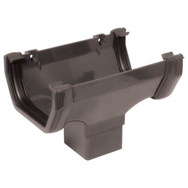 Square Gutter Running Outlet - 114mm Anthracite Grey