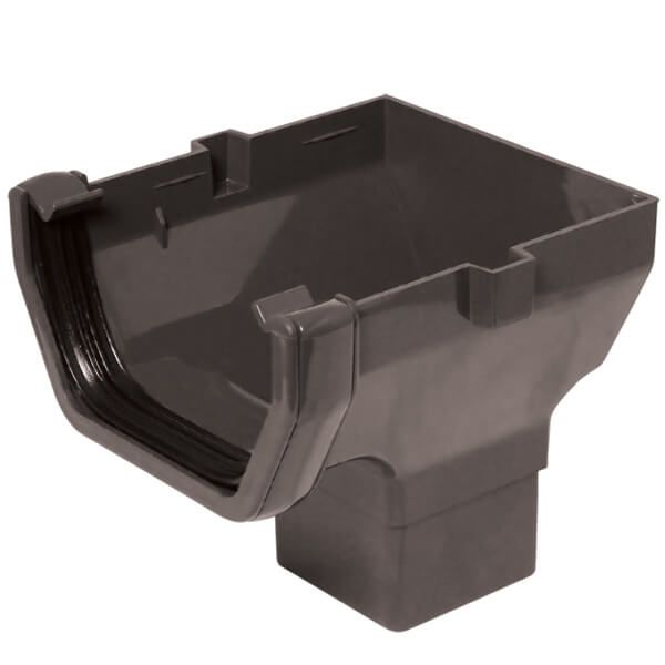 Square Gutter Stopend Outlet - 114mm Anthracite Grey