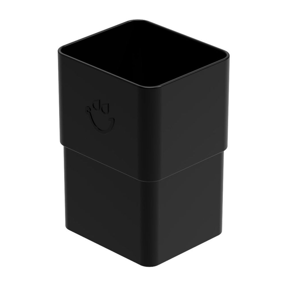 Square Large Downpipe Socket - 80mm x 70mm Black