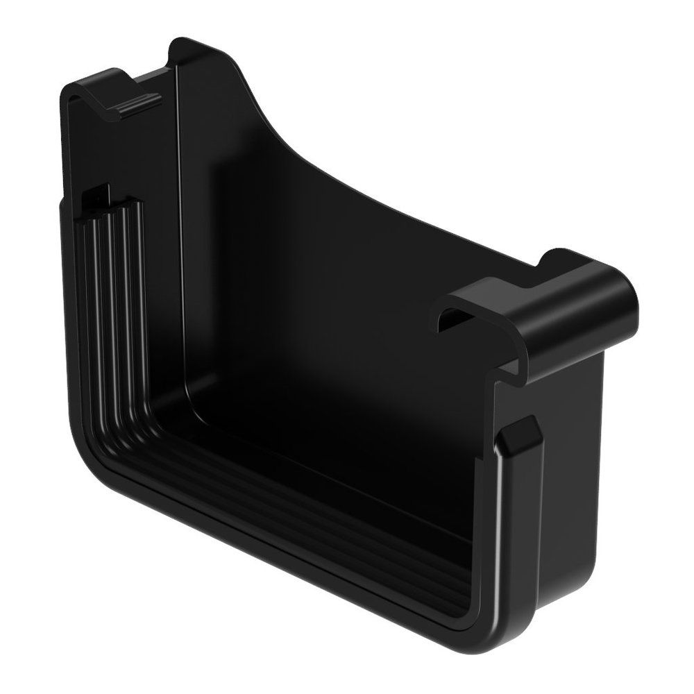 Square Gutter Large Right Hand Stopend - 135mm Black