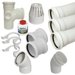 Ring Seal Soil Stack Complete Kit - With Offsets - 110mm White