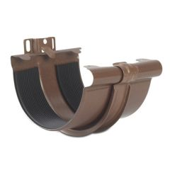 Steel Gutter Union with Bracket - 135mm Copper Effect