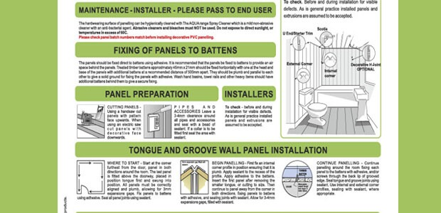 Wall And Ceiling Panels - Installation Instructions