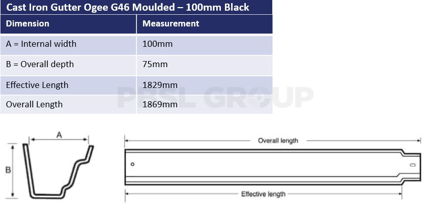 100mm Cast Iron Black Ogee G46 Dimensions