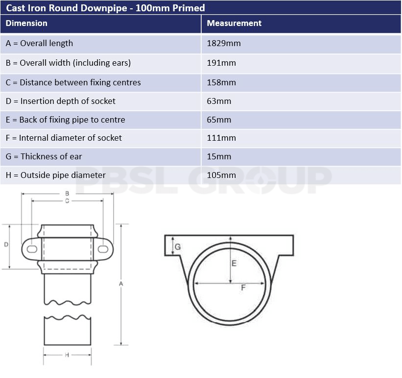 100mm Round Downpipe Dimensions