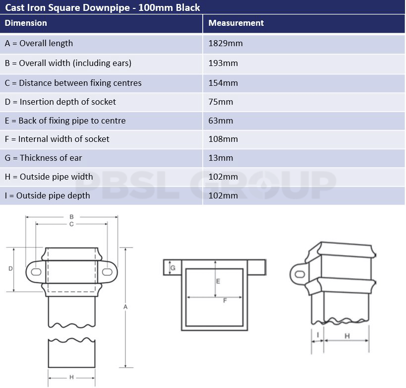 100mm Square Downpipe Dimensions