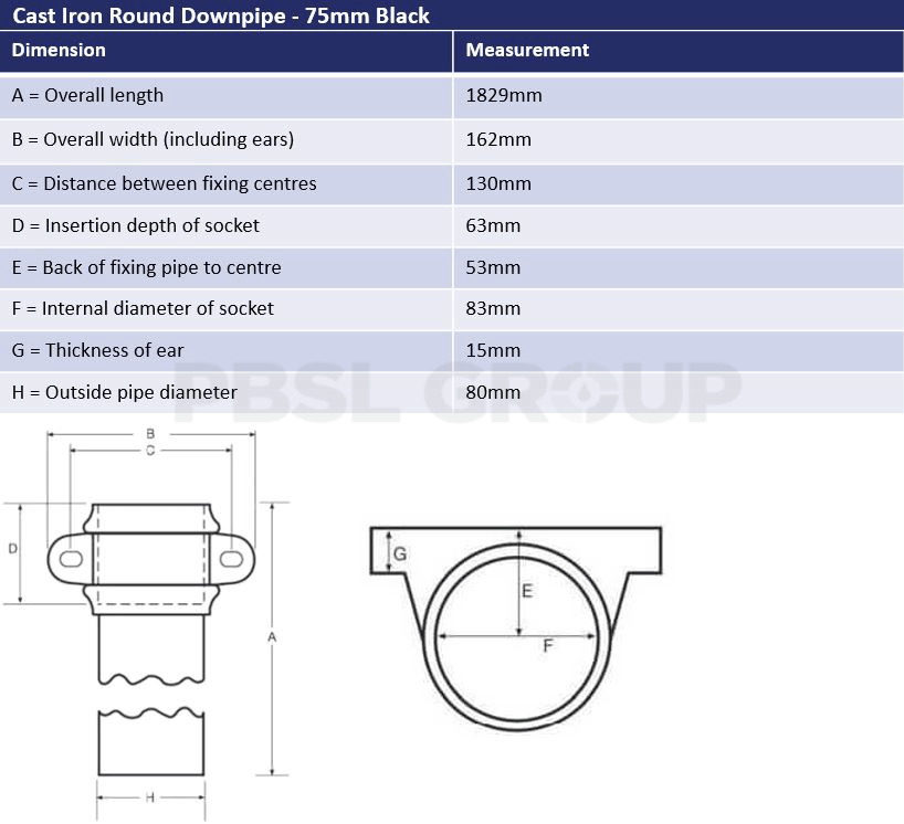 75mm Round Downpipe Dimensions
