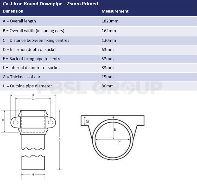 75mm Round Downpipe Dimensions