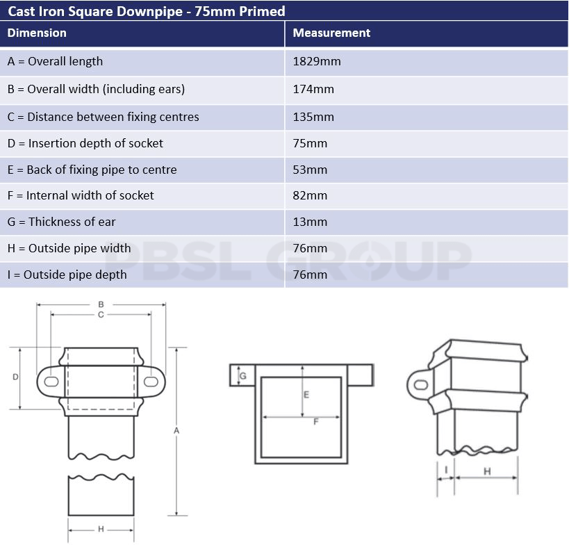75mm Square Downpipe Dimensions
